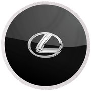 Lexus - 3d Badge On Black Round Beach Towel