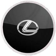 Lexus - 3d Badge On Black Round Beach Towel