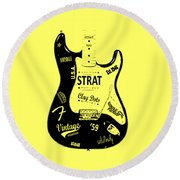 Fender Stratocaster 59 Round Beach Towel by Mark Rogan