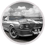 1967 Eleanor Mustang In Black And White Round Beach Towel by Gill Billington