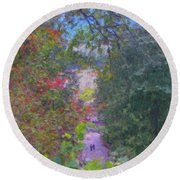 A Walk In The Park Round Beach Towel by Methune Hively