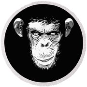 Evil Monkey Round Beach Towel by Nicklas Gustafsson