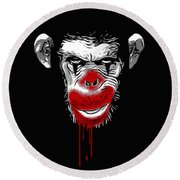 Evil Monkey Clown Round Beach Towel by Nicklas Gustafsson