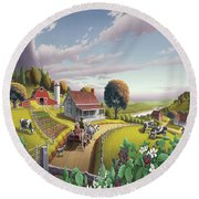 Appalachian Blackberry Patch Rustic Country Farm Folk Art Landscape - Rural Americana - Peaceful Round Beach Towel