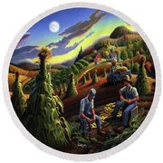 Autumn Farmers Shucking Corn Appalachian Rural Farm Country Harvesting Landscape - Harvest Folk Art Round Beach Towel