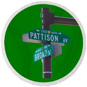 Broad And Pattison Where Philly Sports Happen Round Beach Towel