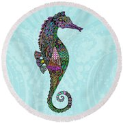 Round Beach Towel featuring the drawing Electric Lady Seahorse  by Tammy Wetzel