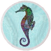 Round Beach Towel featuring the drawing Electric Gentleman Seahorse by Tammy Wetzel