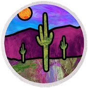 Desert Stained Glass Round Beach Towel