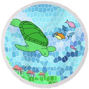 Turtle And Friends Round Beach Towel by Methune Hively