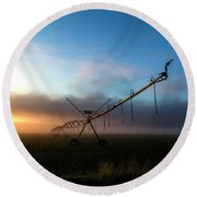 Round Beach Towel featuring the photograph Sunrise Sprinkler by Bill Kesler