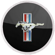 Ford Mustang - Tri Bar And Pony 3 D Badge On Black Round Beach Towel by Serge Averbukh