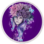 Round Beach Towel featuring the mixed media Hydrangea by Sheena Pike