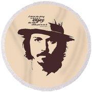 Johnny Depp Minimalist Poster Round Beach Towel