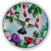 Hummingbird Greeting Card 2 Round Beach Towel by Crista Forest