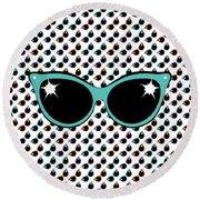 Retro Turquoise Cat Sunglasses Round Beach Towel