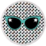 Retro Turquoise Cat Sunglasses Round Beach Towel