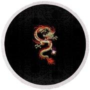 Golden Chinese Dragon Fucanglong On Black Silk Round Beach Towel