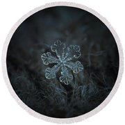 Round Beach Towel featuring the photograph Snowflake Photo - Vega by Alexey Kljatov