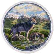 Wolf Painting - Passing It On Round Beach Towel by Crista Forest