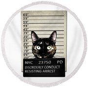 Kitty Mugshot Round Beach Towel by Nicklas Gustafsson
