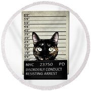 Kitty Mugshot Round Beach Towel