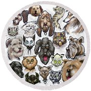 Cats N Dogs Round Beach Towel