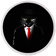 Mobster Cat Round Beach Towel by Nicklas Gustafsson