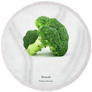 Broccoli Round Beach Towel by Mark Rogan