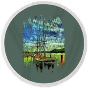 Round Beach Towel featuring the photograph Cape Foulweather Tall Ship by Thom Zehrfeld