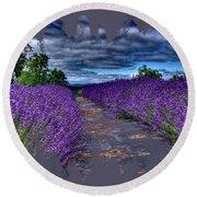 The Lavender Field Round Beach Towel
