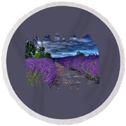 The Lavender Field Round Beach Towel by Thom Zehrfeld