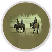 Horseback Riding On The Beach Round Beach Towel by Thom Zehrfeld