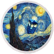 Weird Flying Phone Booth Starry The Night Round Beach Towel
