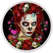 Round Beach Towel featuring the digital art Sugar Doll Red by Shanina Conway