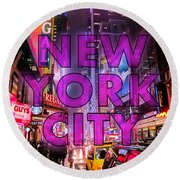 New York City - Color Round Beach Towel by Nicklas Gustafsson