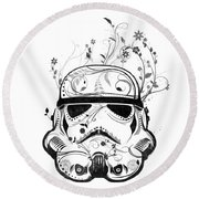 Flower Trooper Round Beach Towel by Nicklas Gustafsson