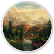 Indian Village Trapper Western Mountain Landscape Oil Painting - Native Americans Americana Stream Round Beach Towel