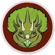 Triceratops Graphic Green Round Beach Towel