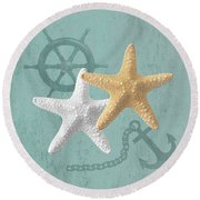 Nautical Stars Round Beach Towel