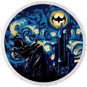 Starry Knight Round Beach Towel by Three Second