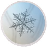 Round Beach Towel featuring the photograph Snowflake Photo - Silverware by Alexey Kljatov