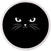 Cute Black Cat Round Beach Towel