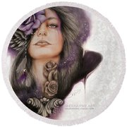 Round Beach Towel featuring the drawing Sweet Sorrow by Sheena Pike