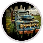 The Blue Classic Ford Truck Round Beach Towel