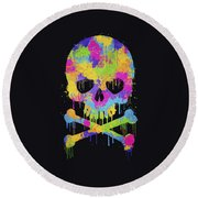 Abstract Trendy Graffiti Watercolor Skull  Round Beach Towel