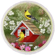 Red Birdhouse And Goldfinches Round Beach Towel