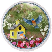 Bluebirds And Yellow Birdhouse Round Beach Towel by Crista Forest