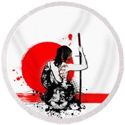 Trash Polka - Female Samurai Round Beach Towel