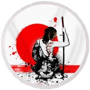 Trash Polka - Female Samurai Round Beach Towel by Nicklas Gustafsson